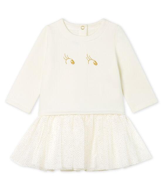 Abito bi-materiale a maniche lunghe da bebè femmina bianco Marshmallow