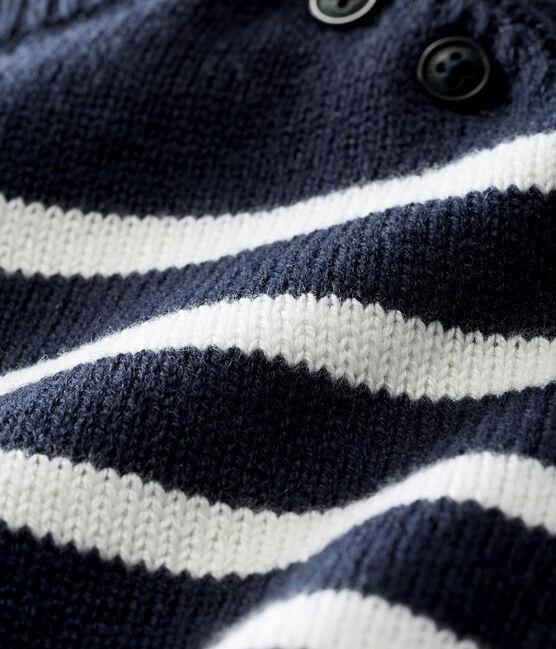 Pull lana e cotone a righe bebè maschio blu Smoking / bianco Marshmallow