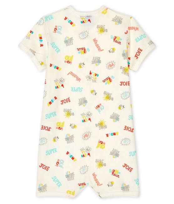 Tutina corta bebè bambino a costine bianco Marshmallow / bianco Multico