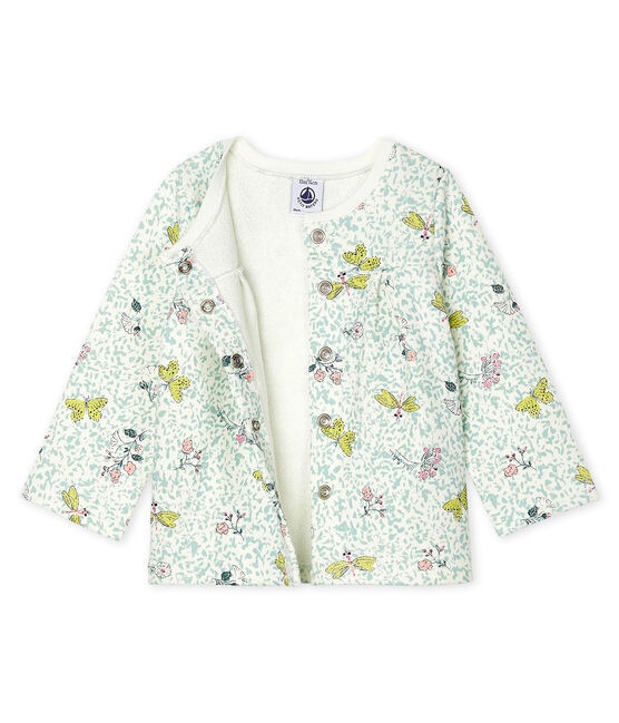 Cardigan bebè femmina in molleton fantasia bianco Marshmallow / bianco Multico