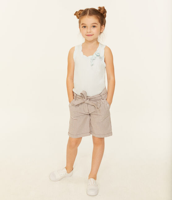 Short bambina rosso Vino / bianco Marshmallow