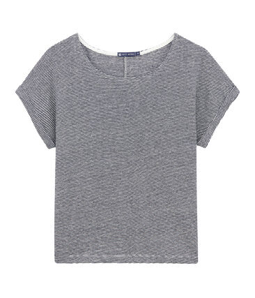T-shirt donna in lino a millerighe blu Smoking / bianco Lait