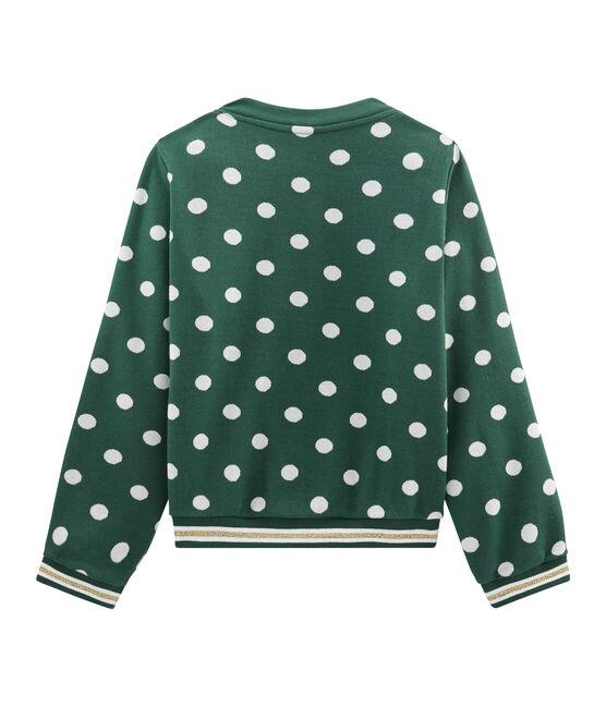 Cardigan bambina fantasia verde Sousbois / bianco Marshmallow