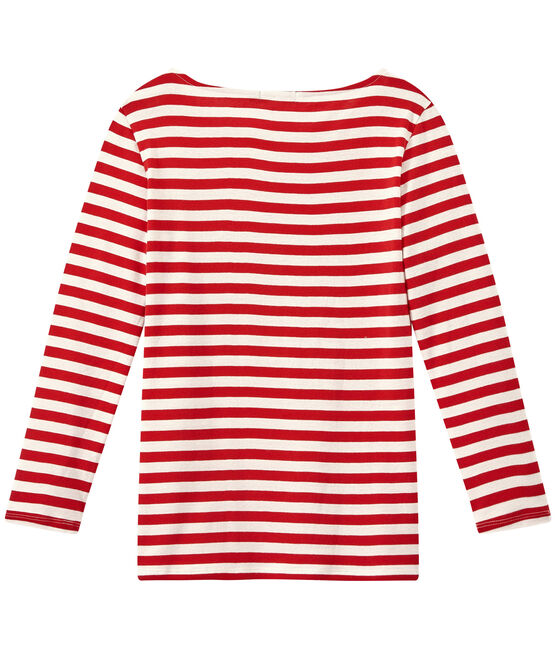 T-shirt donna maniche lunghe in costina originale 1x1 rosso Terkuit / bianco Marshmallow