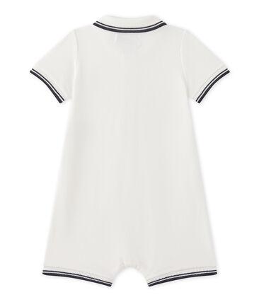 Coordinato corto per bebè maschio in jersey piqué bianco Marshmallow