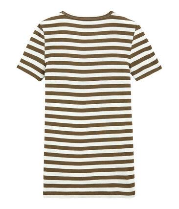 T-shirt donna scollo V in costina originale 1x1 rigata marrone Shitake / bianco Marshmallow