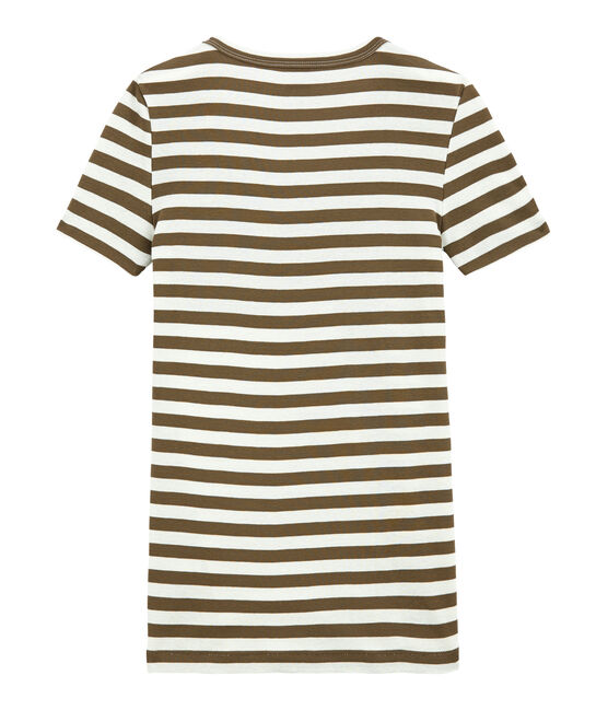 T-shirt donna scollo V in costina originale 1x1 rigata marrone Shitake / bianco Marshmallow