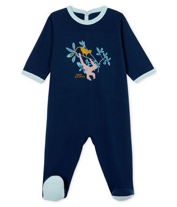 Tutina pigiama bambino a costine blu Haddock