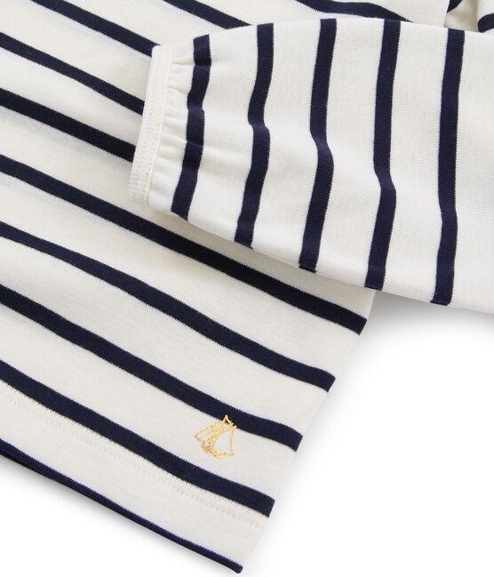 T-shirt bambina beige Coquille / blu Smoking