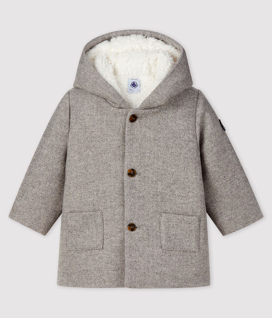 Cappotto bebè maschio in lana GRIS CHINE