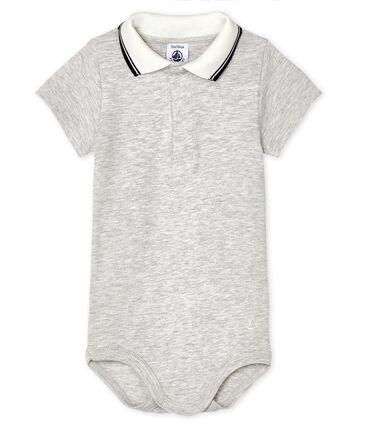 Body con colletto a polo bebè maschietto grigio Beluga