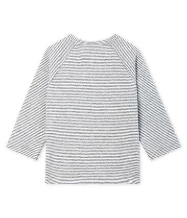 T-shirt a manica lunga bebè maschio millerighe. grigio Subway / bianco Marshmallow