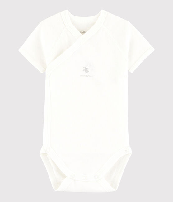 Body incrociato a manica corta bebè unisex bianco Marshmallow