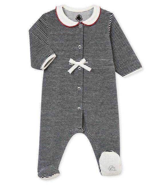 Tutina rigata per bebé femmina blu Smoking / bianco Marshmallow