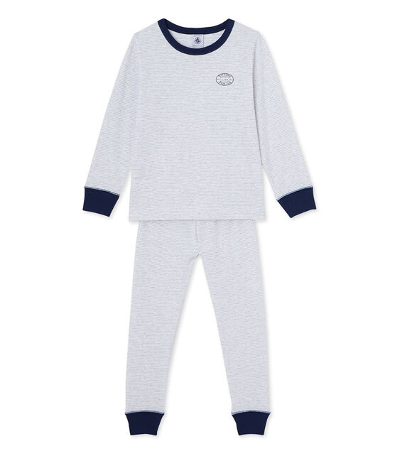 Pyjama garçon en milleraies grigio Poussiere / bianco Lait