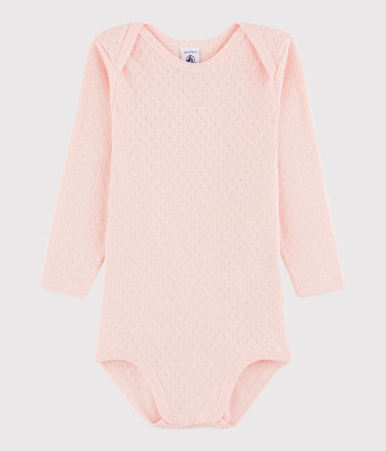 Body manica lunga bebè femmina rosa Minois / bianco Marshmallow