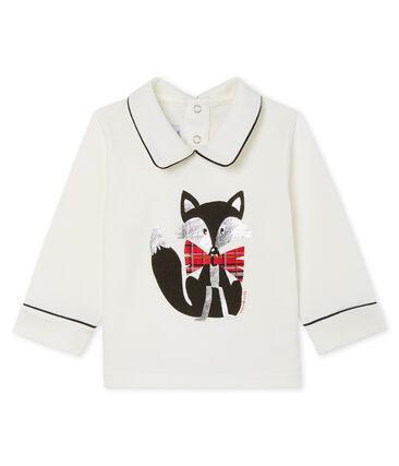 T-shirt a manica lunga bebè maschio con colletto bianco Marshmallow