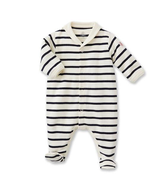Tutina bebé a righe beige Coquille / blu Abysse