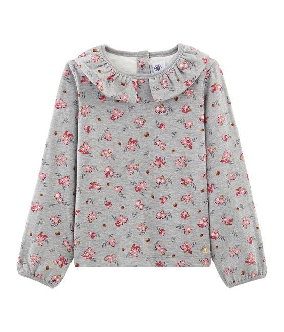 T-shirt maniche lunghe bambina grigio Beluga / bianco Multico