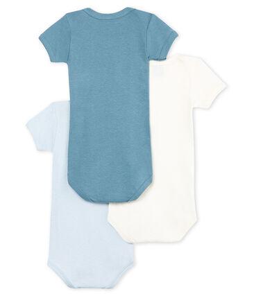 Trio body manica corta bebè maschietto in cotone e lino