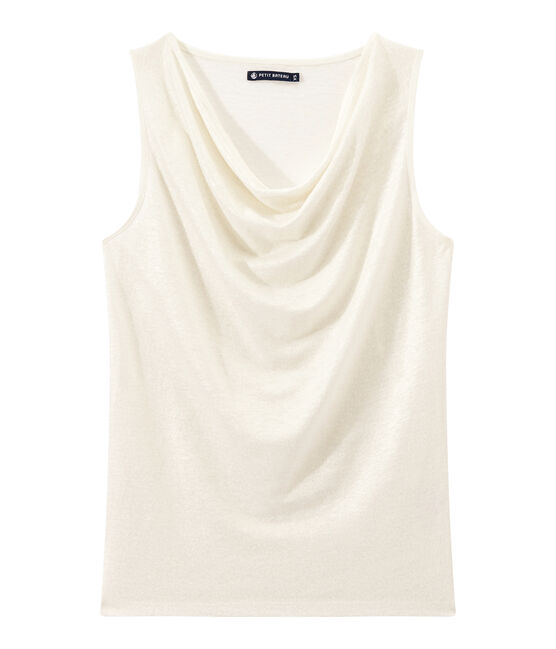 Top donna in lino iridescente bianco Lait / giallo Or