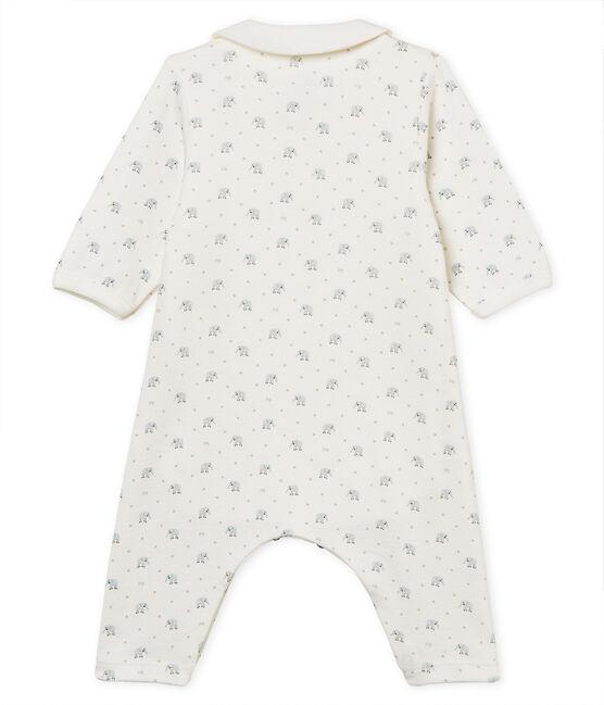 Bodyjama senza piedi bebè maschio a costina 1x1 fantasia bianco Marshmallow / bianco Multico