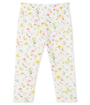 Pantalone bebè femmina fantasia bianco Marshmallow / bianco Multico