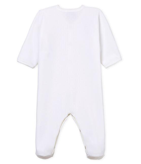 Tutina pigiama bebè unisex in velluto bianco Ecume