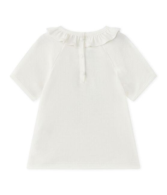 T-shirt bebé bambina maniche corte bianco Marshmallow / blu Smoking