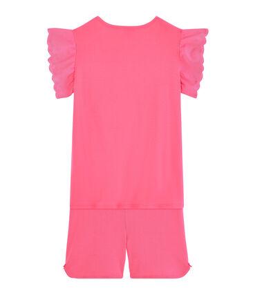 Pigiama corto bambina a costine rosa Cupcake