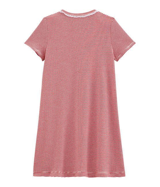 Camicia da notte bambina a costine rosso Terkuit / bianco Marshmallow