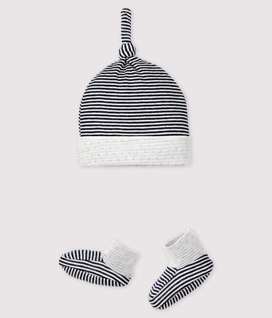 Confezione cappellino nascita e babbucce a righe neonato in tessuto tubico lotto .