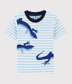 T-shirt maniche corte in jersey bambino blu Jasmin / bianco Marshmallow