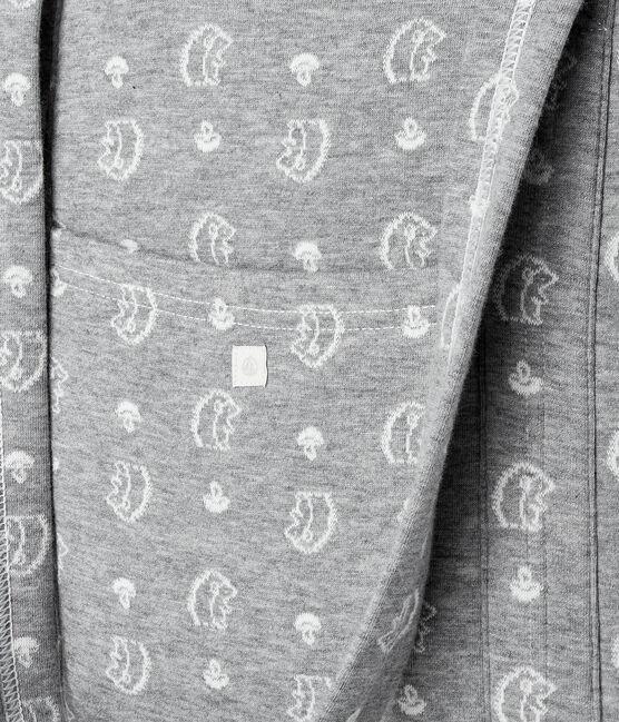 Borsa fasciatoio jacquard riccio in tubique grigio Subway / bianco Marshmallow
