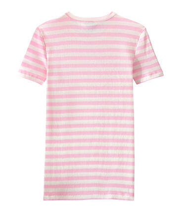 T-shirt donna in costina originale 1x1 rigata rosa Babylone / bianco Marshmallow