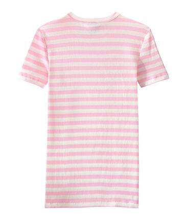 T-shirt donna in costina originale 1x1 rigata rosa Babylone / bianco Marshmallow