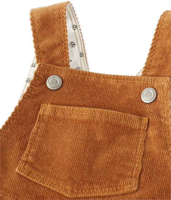 Salopette per bebé maschio in velluto stretch marrone Cuivre