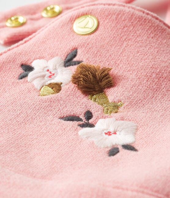 Salopette lunga in molleton da bebè femmina rosa Charme
