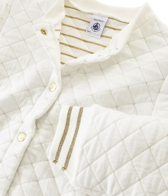 Cardigan in tubique trapuntato bambina bianco Marshmallow