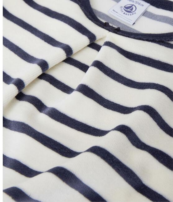 Chemise de nuit fille à bouclette velours beige Coquille / blu Smoking