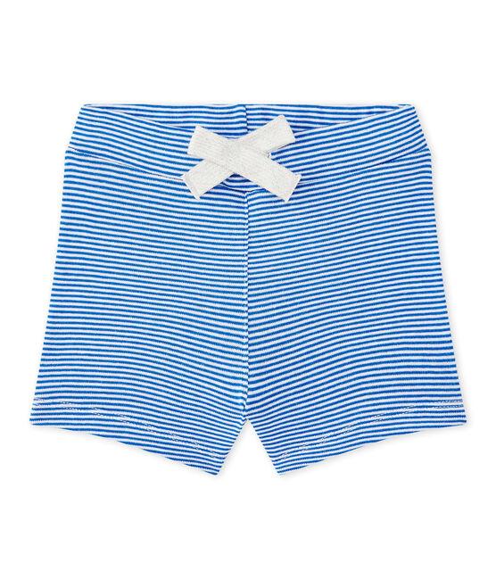 Short bebé bambino rigato blu Perse / bianco Marshmallow
