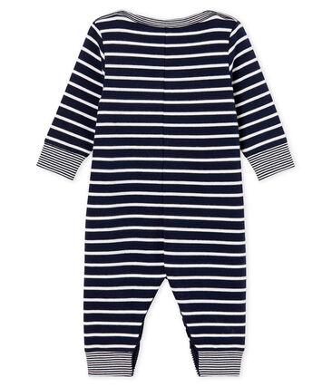 Tuta lunga bebè maschio a righe marinare blu Smoking / bianco Marshmallow