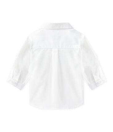 Camicia bebè maschio a manica lunga rimboccabile bianco Ecume