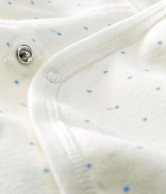 Body nascita manica lunga bebè bianco Marshmallow / blu Acier