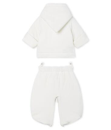 Tutina da pilota 3 in 1 bebè in ciniglia bianco Marshmallow