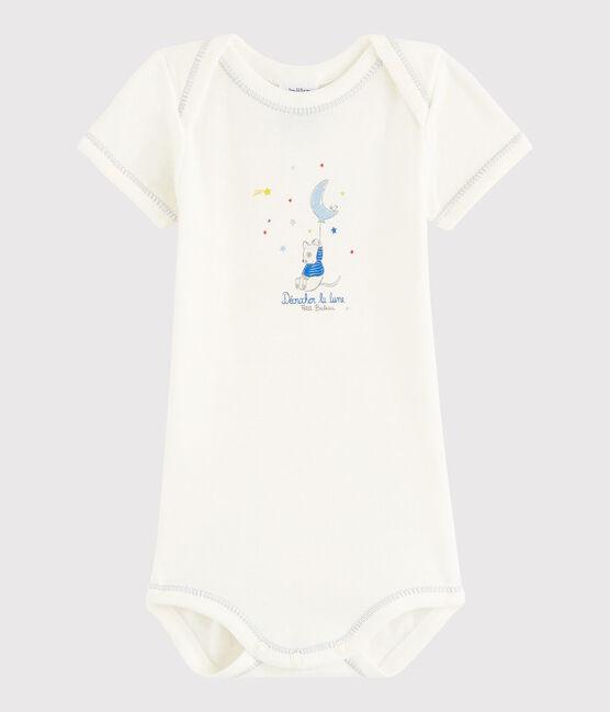 Body manica corta bebè maschietto bianco Lait