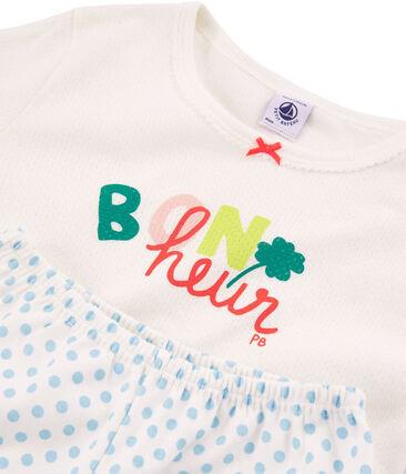 Pigiama bambina a costine bianco Marshmallow / blu Jasmin