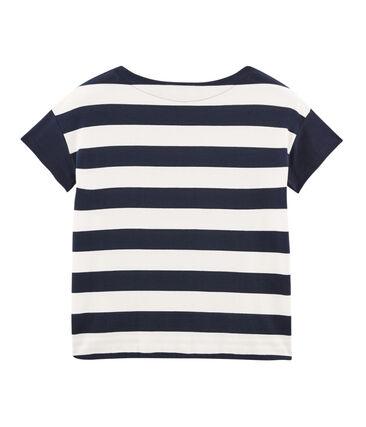 T-shirt grafica maniche corte donna blu Smoking / bianco Marshmallow