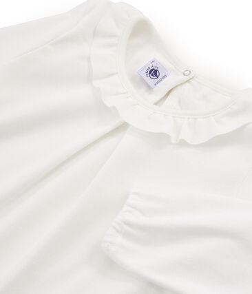 T-shirt maniche lunghe bambina bianco Marshmallow