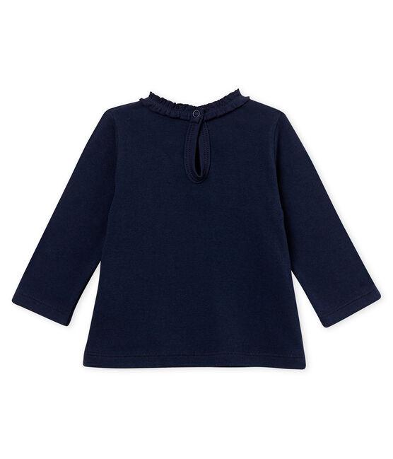 Blusa per bebé femmina tinta unita blu Smoking